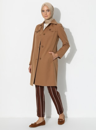 Camel - Fully Lined - Point Collar -  - Trench Coat