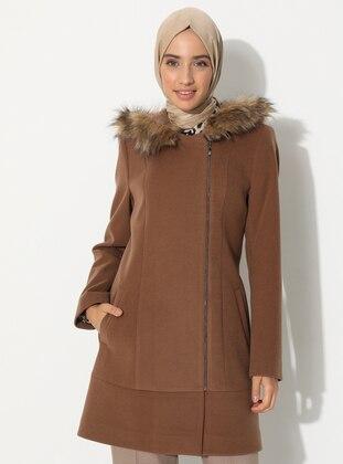 Tan - Fully Lined - Nylon -  - Coat