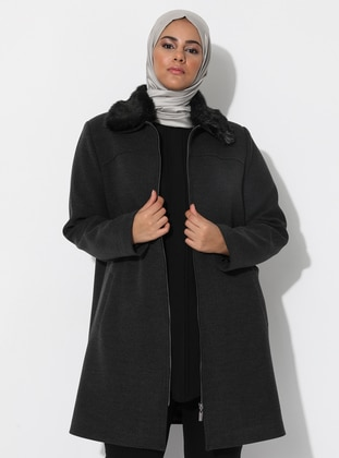Anthracite - Fully Lined - Viscose - Plus Size Overcoat