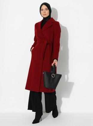 Maroon - Fully Lined - Shawl Collar - Viscose - Coat