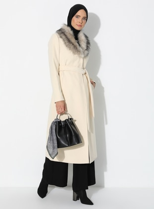 White - Ecru - Fully Lined - Shawl Collar - Nylon - - Coat