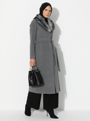 Gray - Fully Lined - Shawl Collar - Nylon -  - Coat