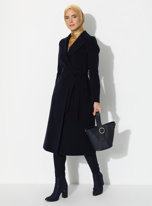 Navy Blue - Fully Lined - Shawl Collar - Viscose - Coat