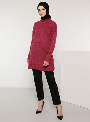 Fuchsia - Polo neck - Acrylic -  - Wool Blend - Jumper