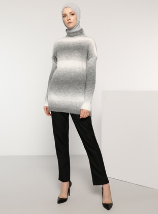 Gray - Polo neck - Acrylic -  - Wool Blend - Jumper - Tavin