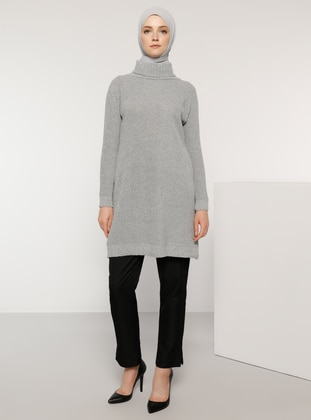 Gray - Polo neck - Acrylic -  -  - Jumper