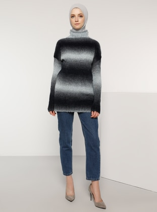 Blue - Polo neck - Acrylic -  - Wool Blend - Jumper