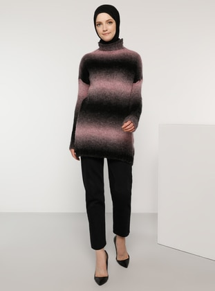 Pink - Polo neck - Acrylic -  - Wool Blend - Jumper - Tavin