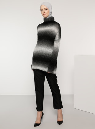 Black - Polo neck - Acrylic -  - Wool Blend - Jumper - Tavin