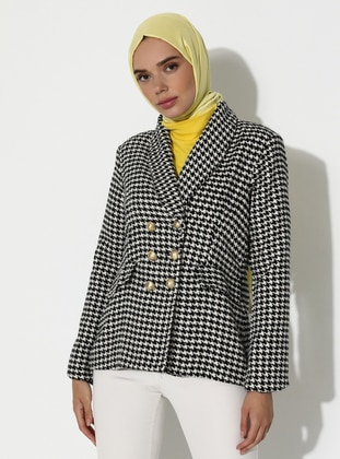 White - Black - Houndstooth - Fully Lined - V neck Collar - Viscose - Jacket