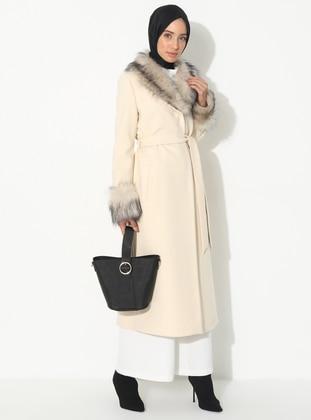 Ecru - Fully Lined - V neck Collar - Viscose - Coat