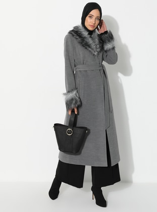 Gray - Fully Lined - V neck Collar - Viscose - Coat