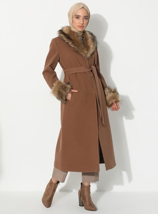 Tan - Fully Lined - V neck Collar - Viscose - Coat