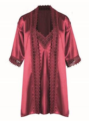 Maroon -  - Satin - Morning Robe
