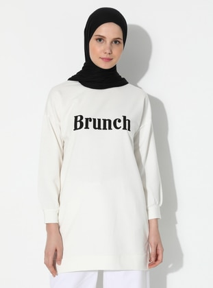 - Crew neck - White - Ecru - Sweat-shirt