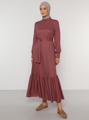 Plum - Polo neck - Unlined - Acrylic - Viscose - Dress