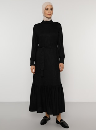Anthracite - Polo neck - Unlined - Acrylic - Viscose - Dress