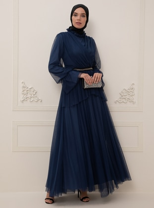 Indigo - Fully Lined - Crew neck - Muslim Evening Dress - BÜRÜN