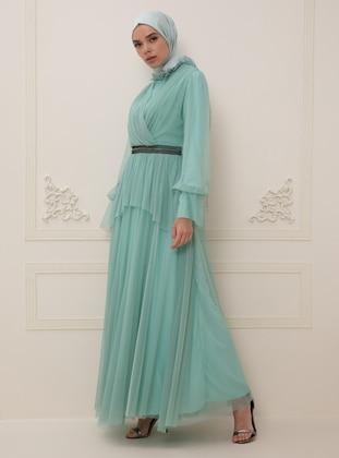 Mint - Fully Lined - Crew neck - Crew neck - Muslim Evening Dress
