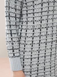 Blue - Polo neck - Unlined - Knit Tunics