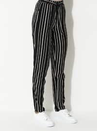 Black - Stripe - Viscose - Pants