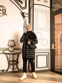 Black - Stripe - Acrylic -  - Wool Blend - Cardigan