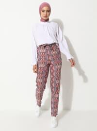 Pink - Multi - Viscose - Pants