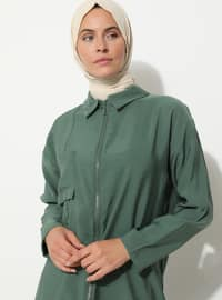 Khaki - Point Collar - Viscose - Tunic