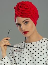 Red - Simple - Combed Cotton - Bonnet