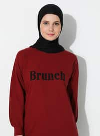 - Crew neck - Maroon - Sweat-shirt