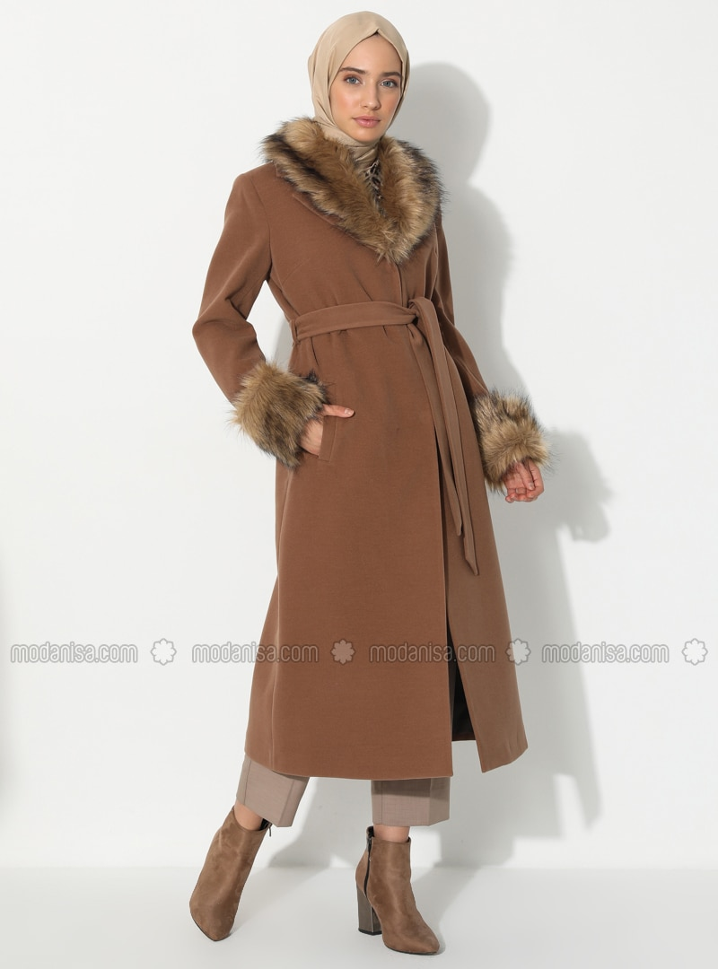 Tan - Fully Lined - V neck Collar - Viscose - Coat