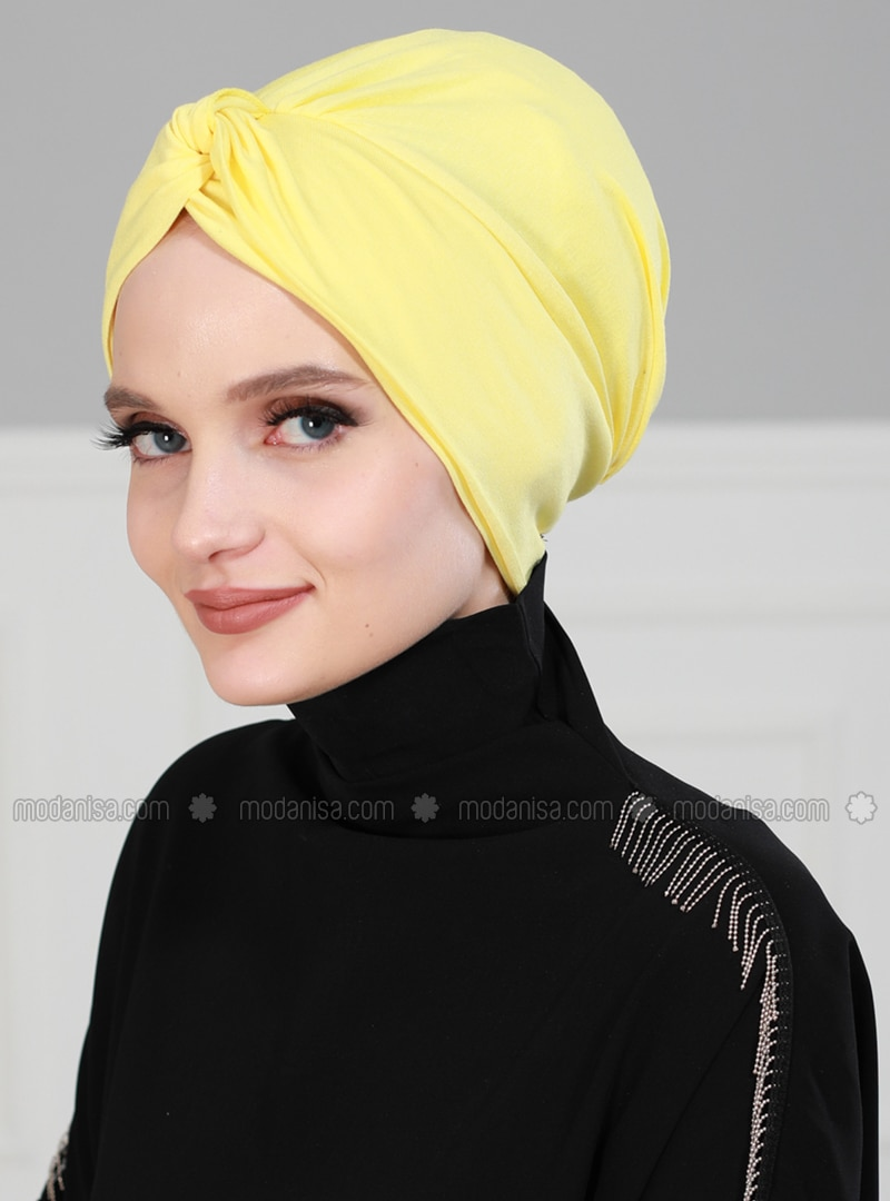 Yellow - Simple -  - Combed Cotton - Bonnet