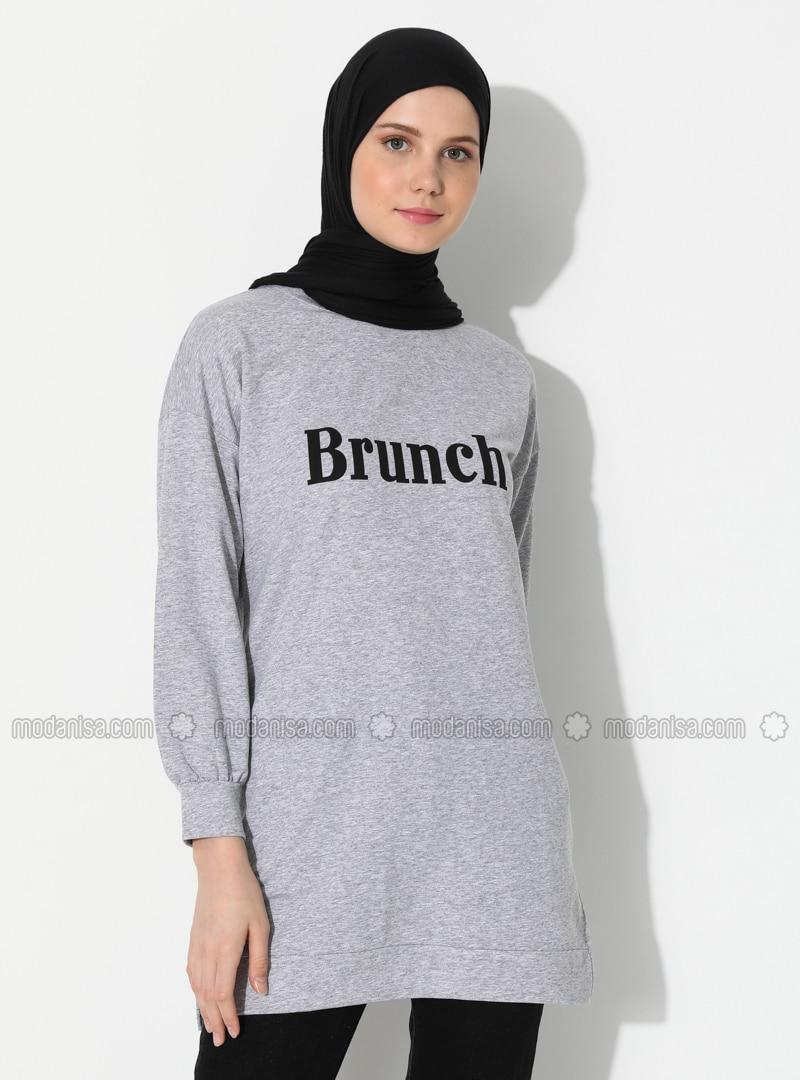 - Crew neck - Gray - Sweat-shirt