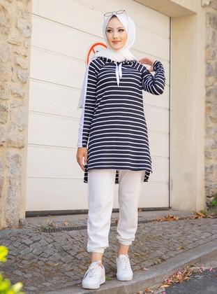 Viscose - Stripe - Black - Sweat-shirt