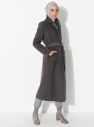 Gray - Fully Lined - V neck Collar - Wool Blend - Coat
