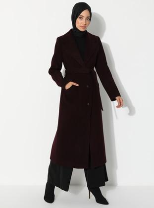 Plum - Fully Lined - V neck Collar - Wool Blend - Coat