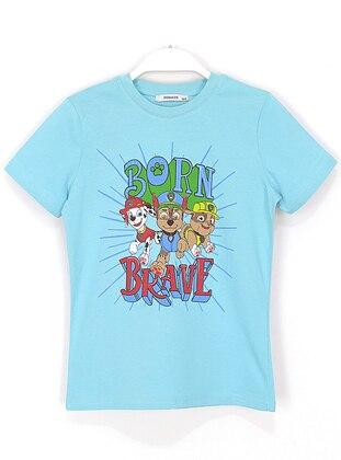 Multi - Crew neck -  - Blue - Boys` T-Shirt