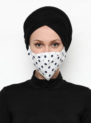 Polka Dot -  - White - Navy Blue - Mask