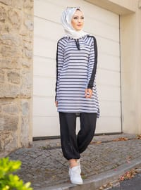 Viscose - Stripe - Gray - Sweat-shirt