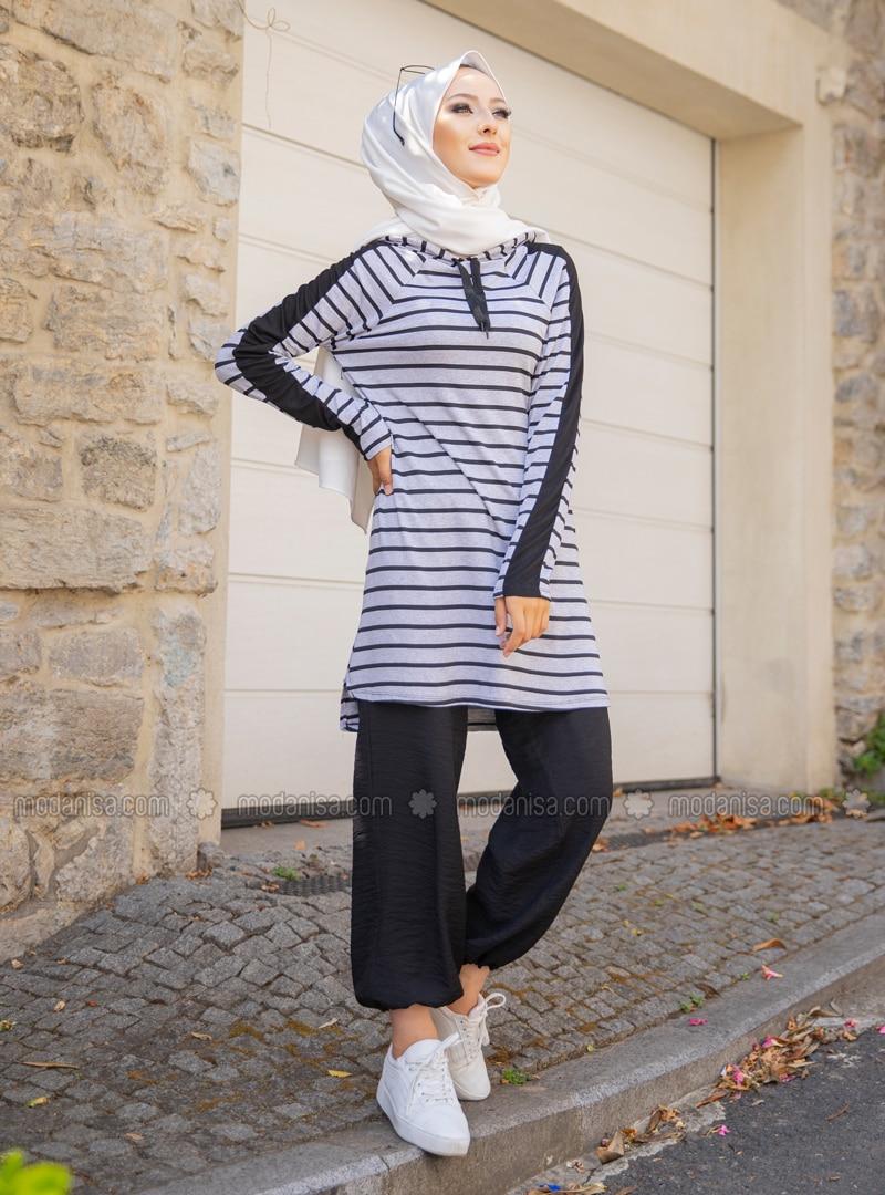 Viscose - Stripe - Gray - Sweat-shirt