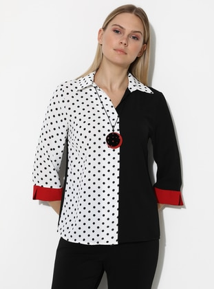 White - Black - Polka Dot - Point Collar - Blouses