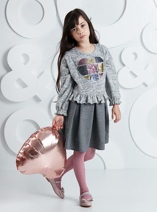 Gray - Girls` Dress - Mushi