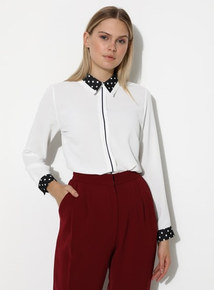 White - Polka Dot - Point Collar - Blouses