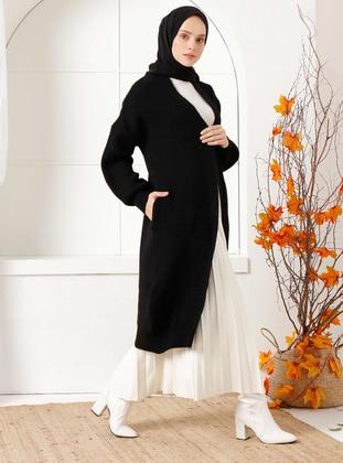 Black - Acrylic -  - Knit Cardigans - İnşirah