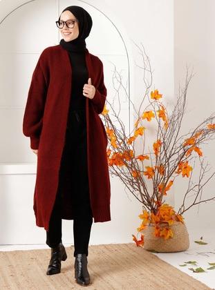 Maroon - Acrylic -  - Knit Cardigans - İnşirah