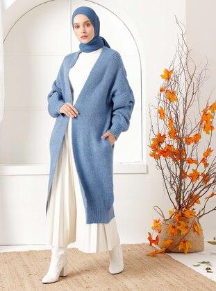 Blue - Acrylic -  - Knit Cardigans - İnşirah