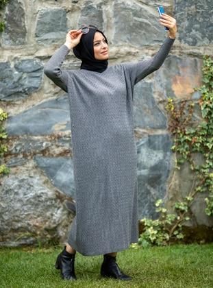 Anthracite - Crew neck - Acrylic -  - Knit Dresses