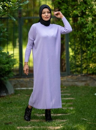 Lilac - Crew neck - Acrylic - - Knit Dresses