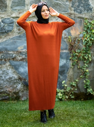 Terra Cotta - Crew neck - Acrylic -  - Knit Dresses