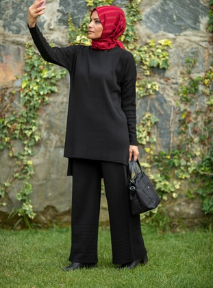 Black - Acrylic -  - Knit Suits - MODANUR